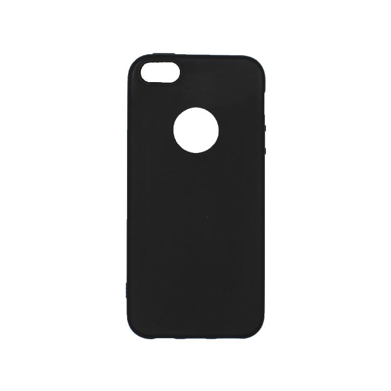 θήκη iphone 5 σιλικόνη με τρύπα μαύρη
