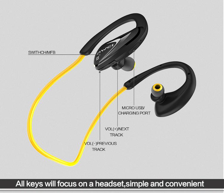 awei ασύρματα αδιάβροχα ακουστικά μαύρα
