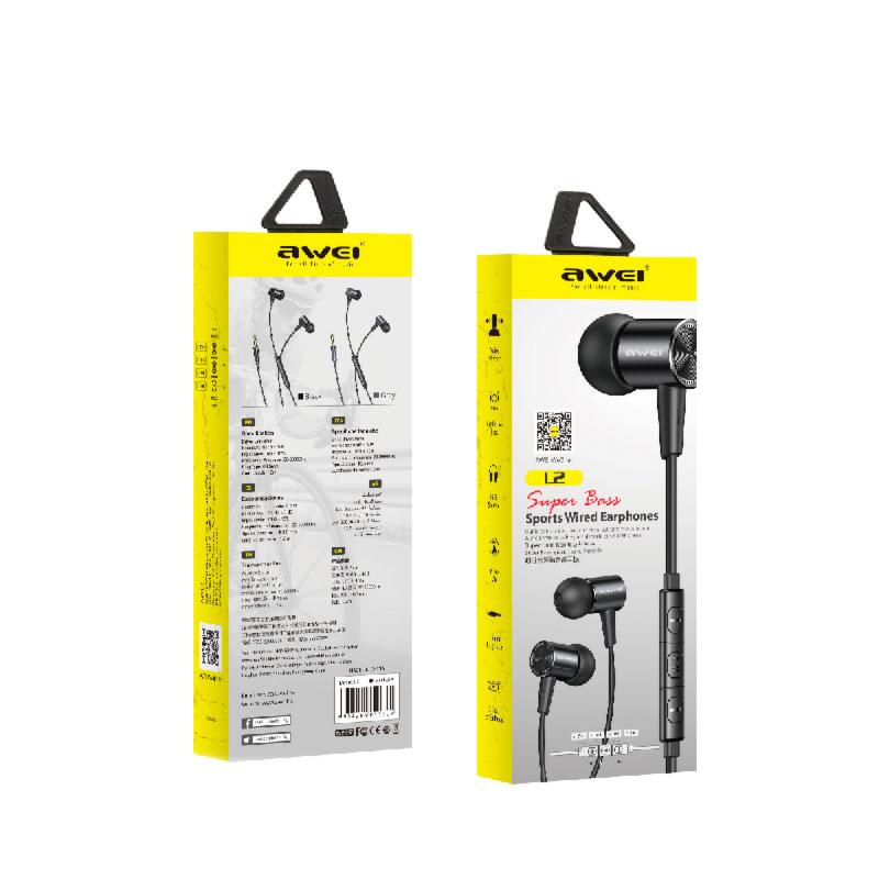 ενσύρματα ακουστικα awei L2 συσκευασία
