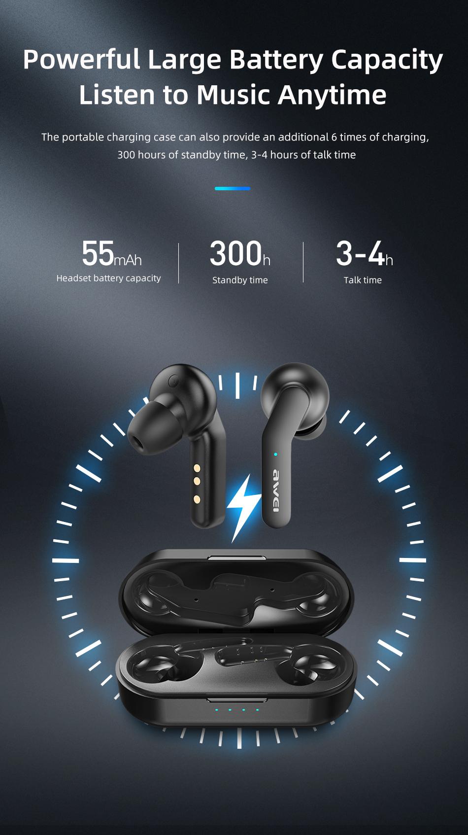 awei T10c ασύρματα ακουστικά μαύρα
