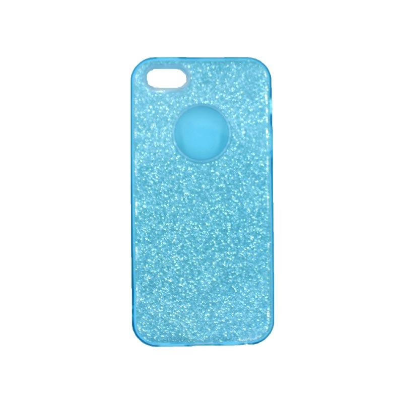 θήκη iphone 5 σιλικόνη glitter γαλάζιο