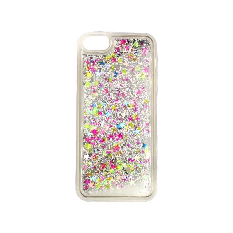 θήκη iphone 5 σιλικόνη glitter και αστεράκια φλοράλ 2