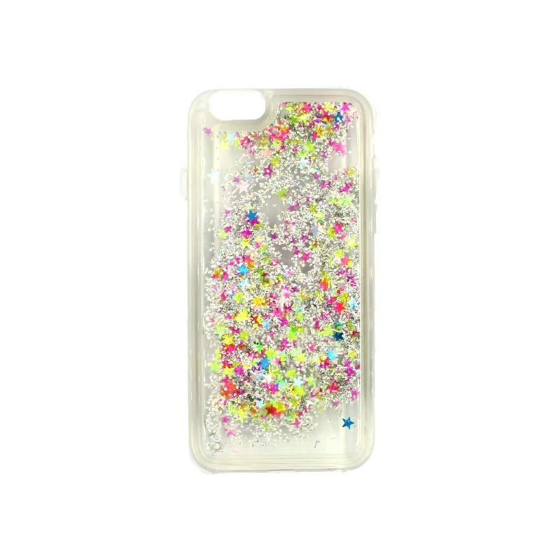 θήκη iphone 6 σιλικόνη glitter και αστεράκια κίτρινο 1