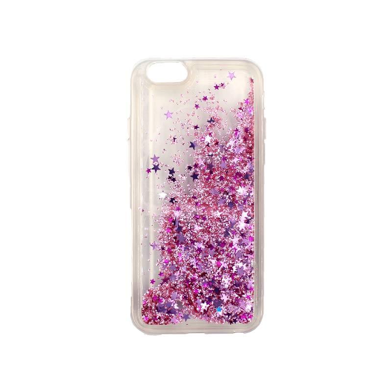 θήκη iphone 6 σιλικόνη glitter και αστεράκια ροζ 2
