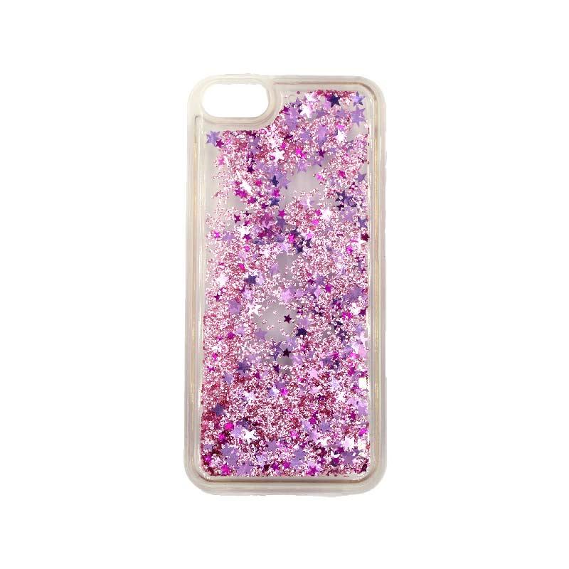 θήκη iphone 5 σιλικόνη glitter και αστεράκια ροζ 3