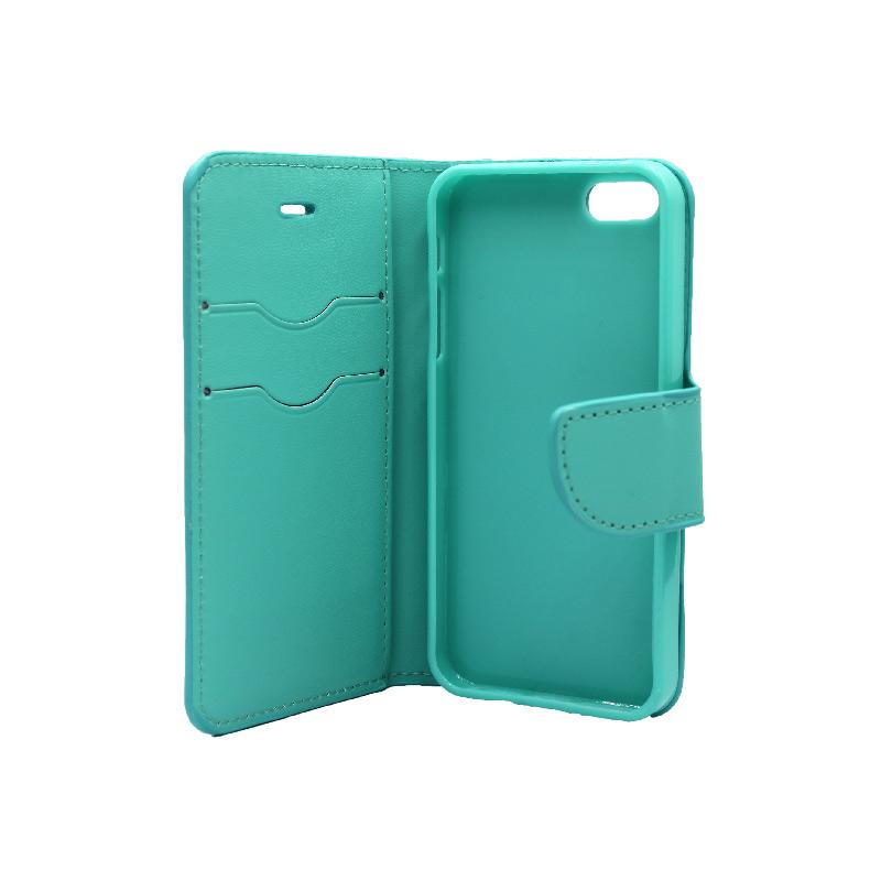 θήκη iphone 5 πορτοφόλι με λουράκι τιρκουάζ 5