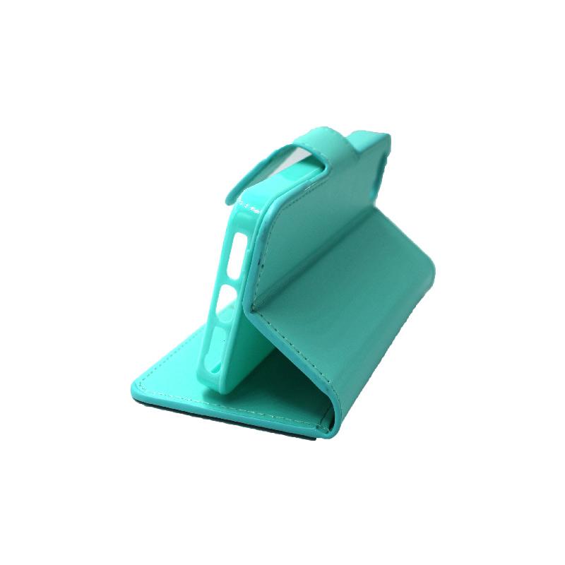 θήκη iphone 5 πορτοφόλι με λουράκι τιρκουάζ 1