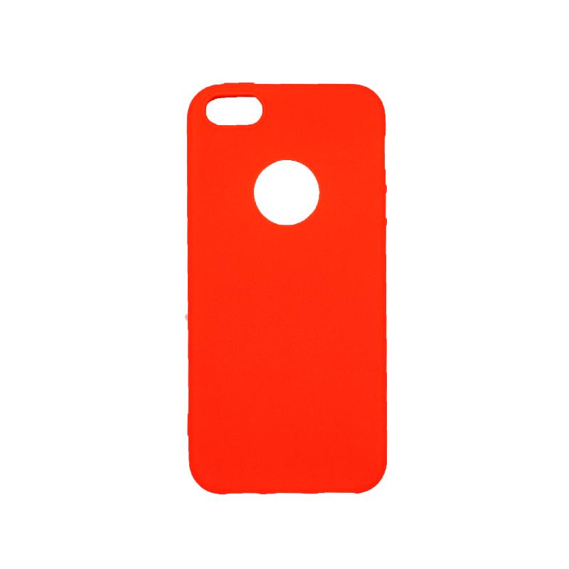 θήκη iphone 5 σιλικόνη με τρύπα πορτοκαλί