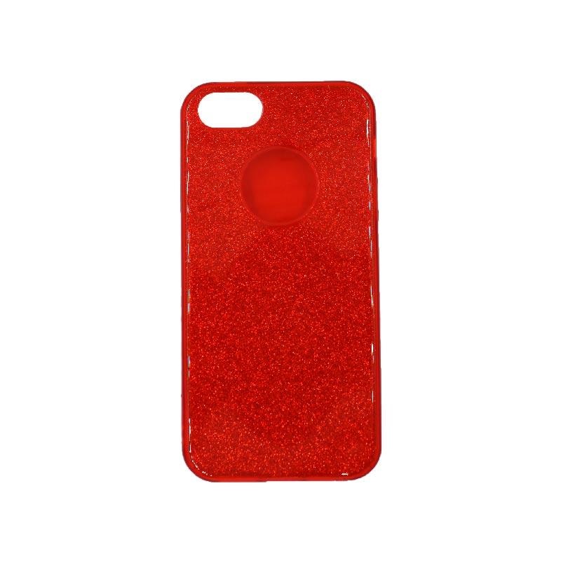 θήκη iphone 5 σιλικόνη glitter κόκκινο