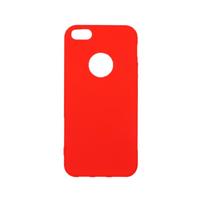 θήκη iphone 5 σιλικόνη με τρύπα κόκκινη