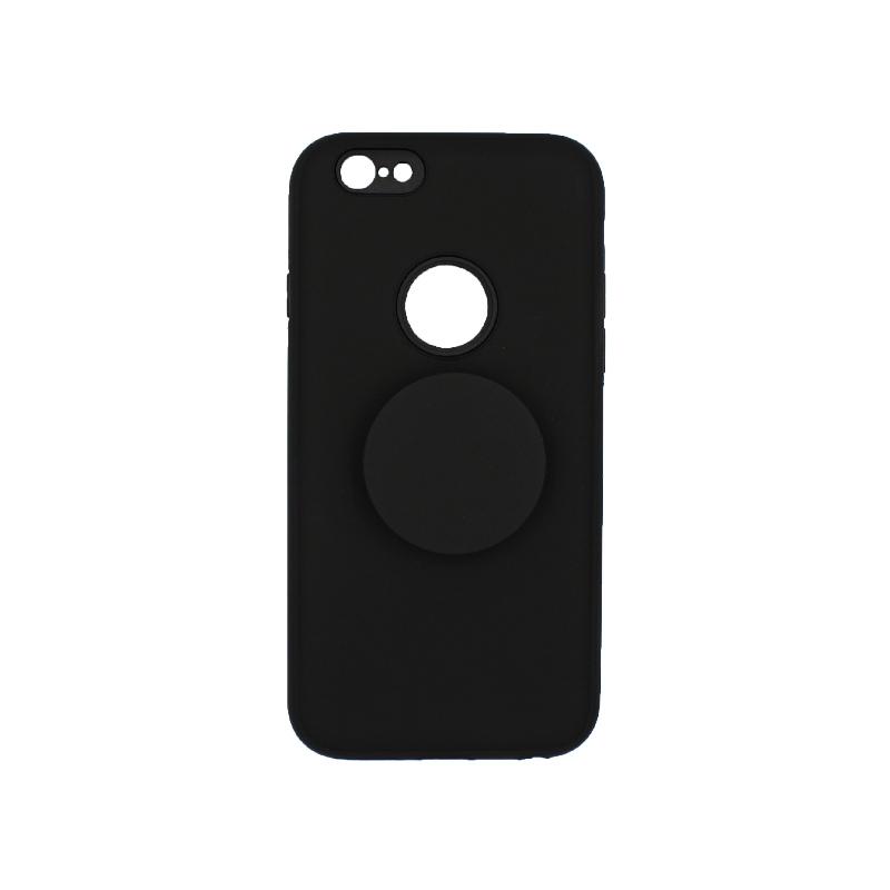 θήκη iphone 6 σιλικόνη popsocket hole μαύρο 1