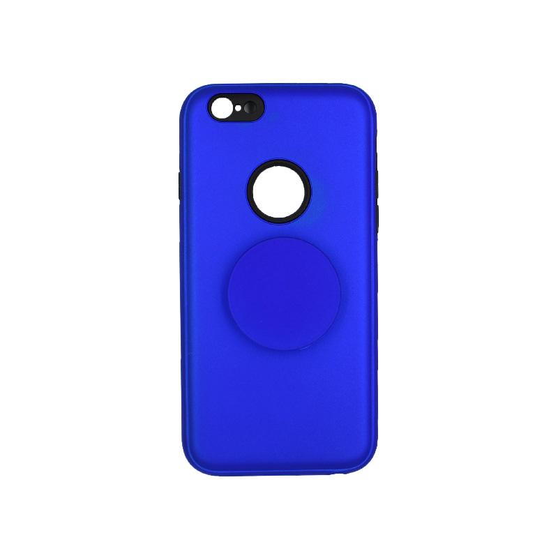 θήκη iphone 6 σιλικόνη popsocket hole μπλε 1