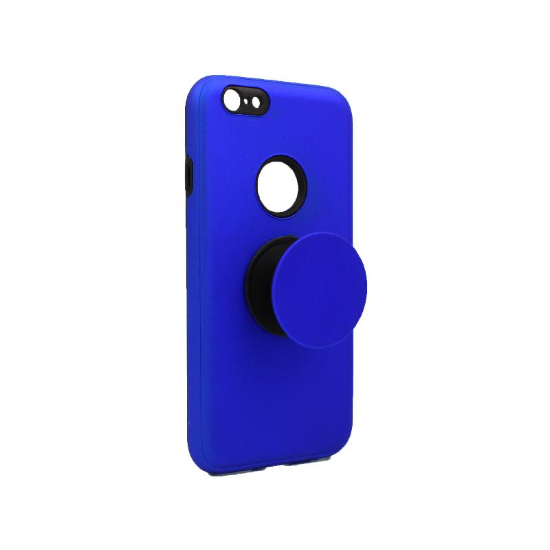 θήκη iphone 6 σιλικόνη popsocket hole μπλε 2