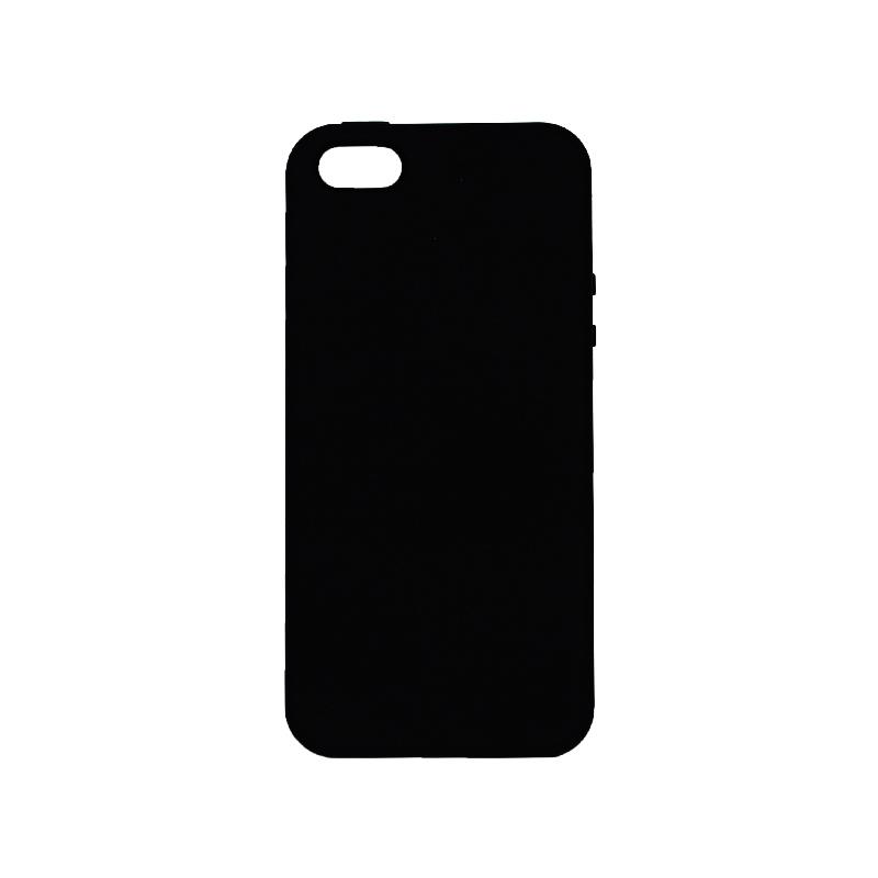 θήκη iPhone 5 soft touch σιλικόνη μαύρο μπροστινό