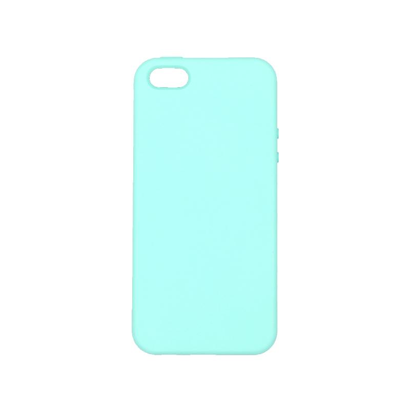 θήκη iPhone 5 soft touch σιλικόνη τιρκουάζ μπροστά