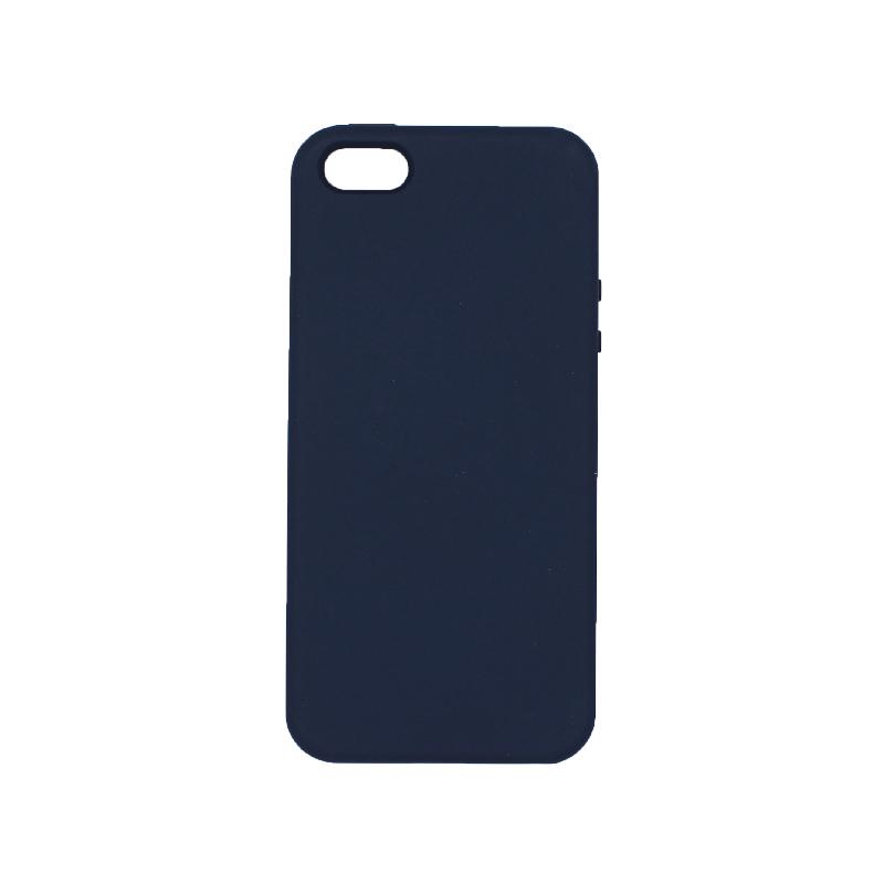 θήκη iPhone 5 soft touch σιλικόνη dark blue μπροστά