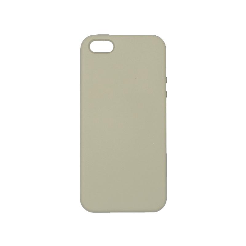 θήκη iPhone 5 soft touch σιλικόνη λαδί μπροστά