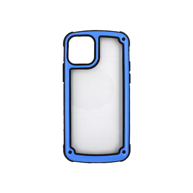 Θήκη iPhone 11 Pro Διάφανη Σιλικόνη με Μπλε Πλαίσιοοο 1