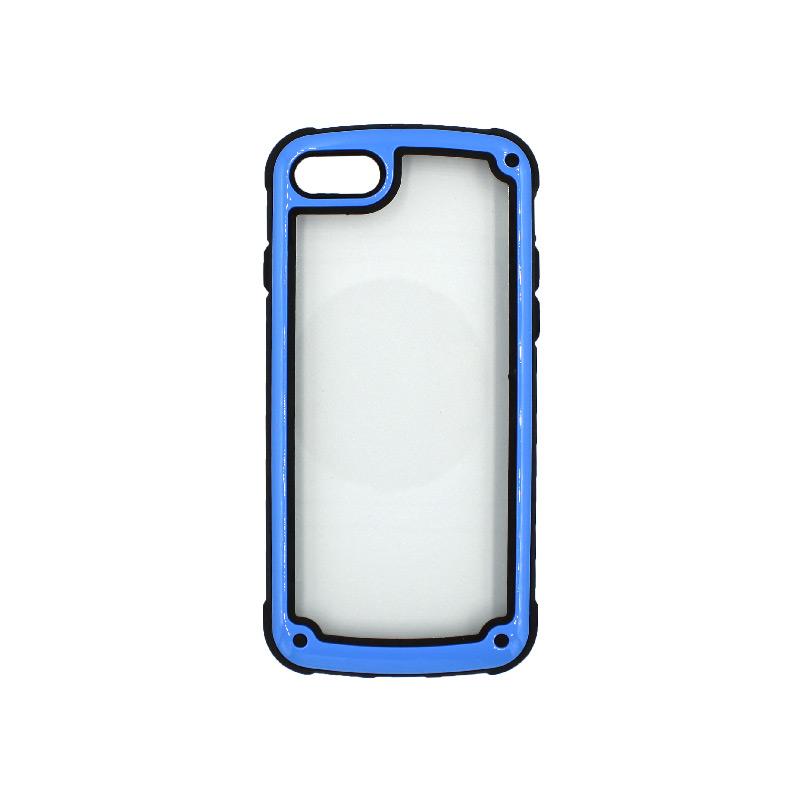 θήκη iphone 7 / 8 διάφανη σιλικόνη με μπλε πλαίσιο 1