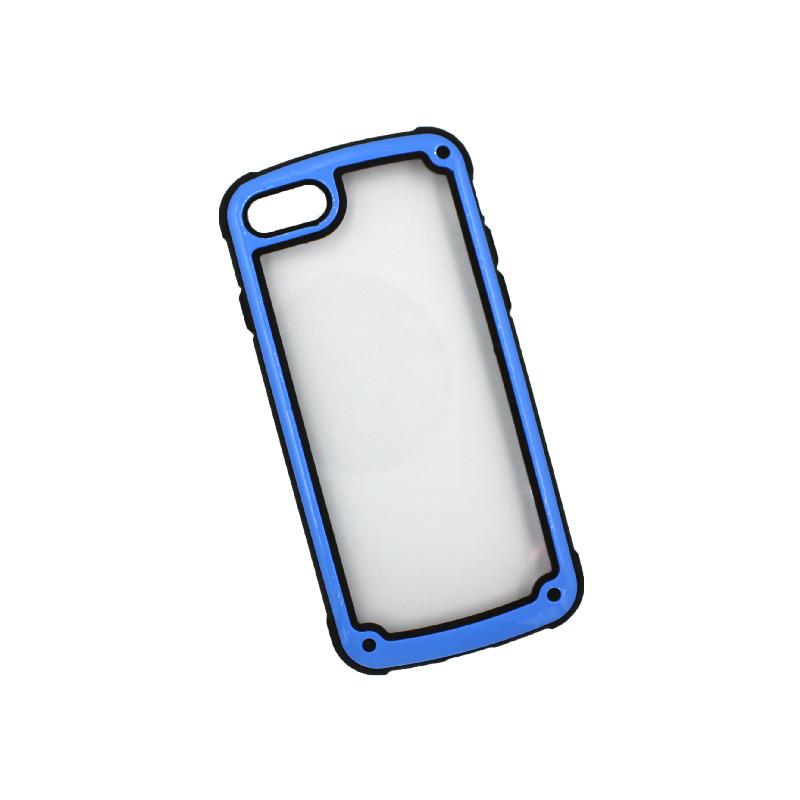 θήκη iphone 7 / 8 διάφανη σιλικόνη με μπλε πλαίσιο 2