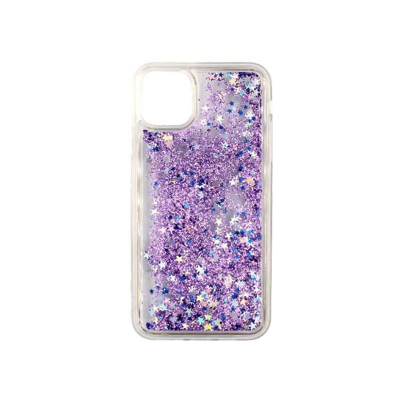 θήκη iphone 11 / 11 pro σιλικόνη glitter και αστεράκια μοβ 1