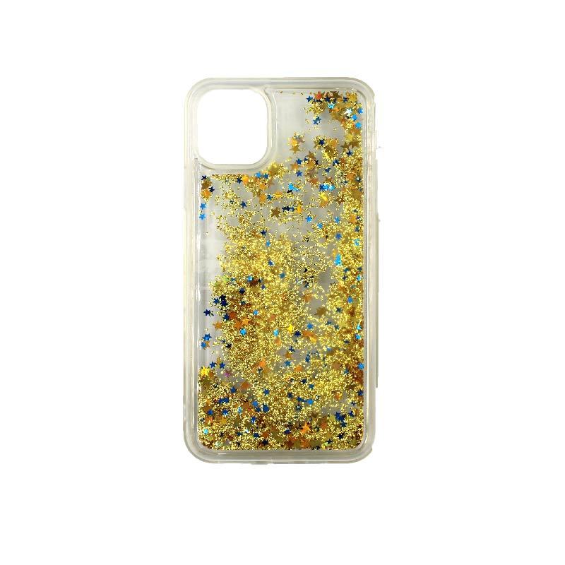θήκη iphone 11 / 11 pro σιλικόνη glitter και αστεράκια κίτρινο 2