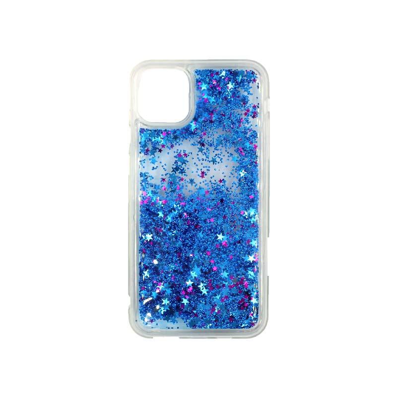 θήκη iphone 11 / 11 pro σιλικόνη glitter και αστεράκια μπλε 1