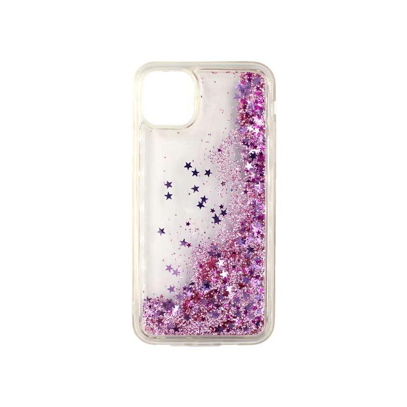 θήκη iphone 11 / 11 pro σιλικόνη glitter και αστεράκια ροζ 2