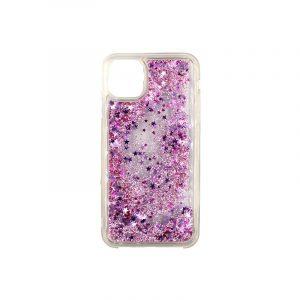 θήκη iphone 11 / 11 pro σιλικόνη glitter και αστεράκια ροζ 1