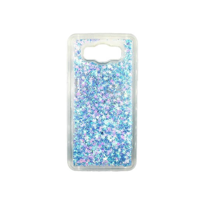 Θήκη Samsung Galaxy J7 2016 Liquid Glitter γαλάζιο 1