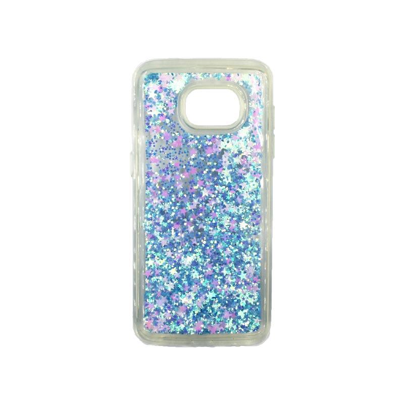 Θήκη Samsung Galaxy S7 Edge Liquid Glitter γαλάζιο 1