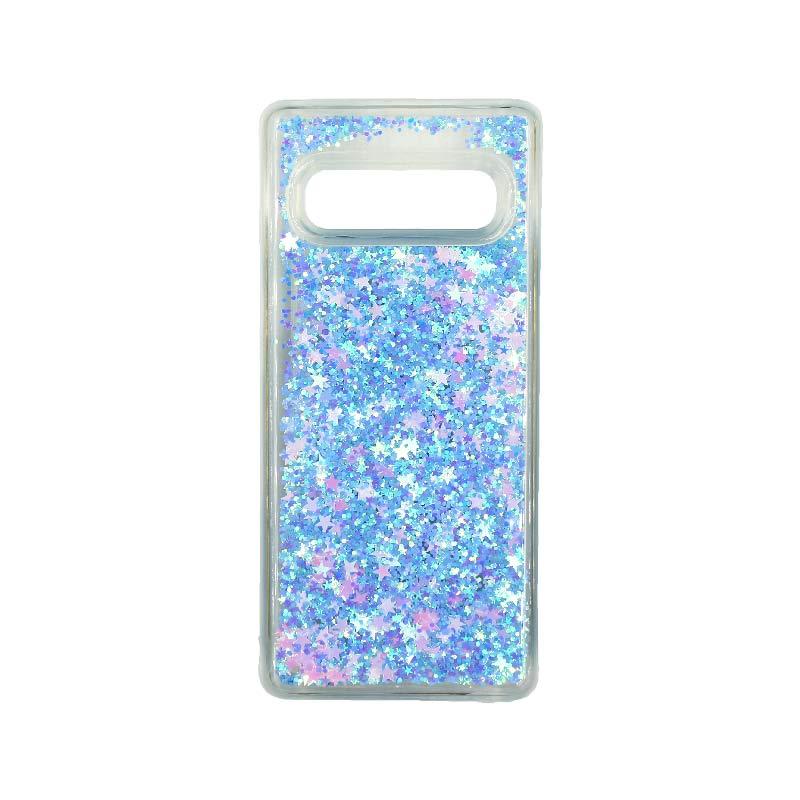 Θήκη Samsung Galaxy S10 Liquid Glitter γαλάζιο 1
