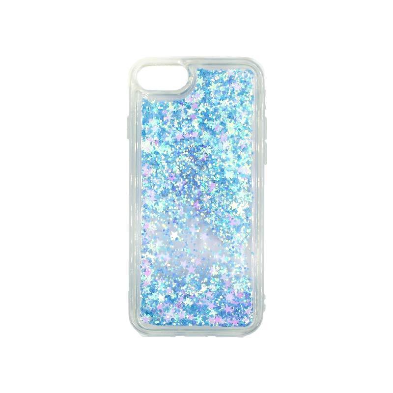 θήκη iphone 7 / 8 σιλικόνη glitter και αστεράκια γαλάζιο 1