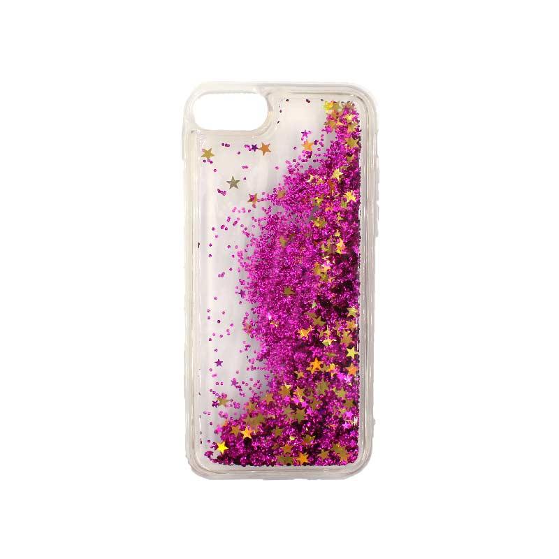 θήκη iphone 7 / 8 σιλικόνη glitter και αστεράκια φούξια 2