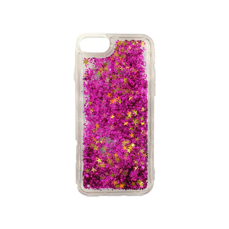 θήκη iphone 7 / 8 σιλικόνη glitter και αστεράκια φούξια 1