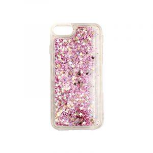 θήκη iphone 7 / 8 σιλικόνη glitter και αστεράκια ροζ 1