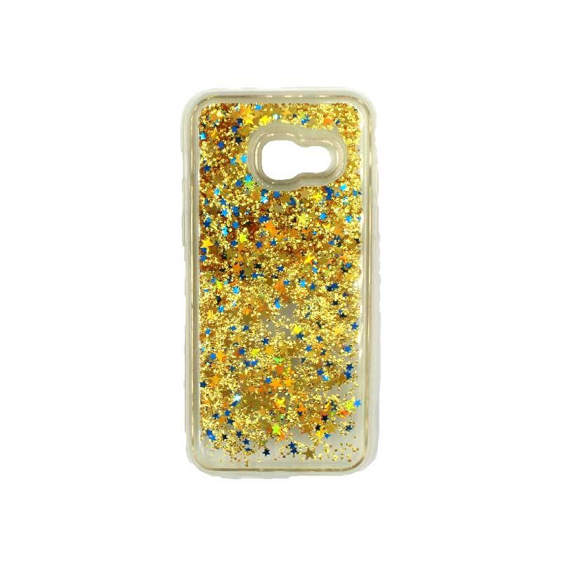 Θήκη Samsung Galaxy A3 2017 Liquid Glitter κίτρινο 1
