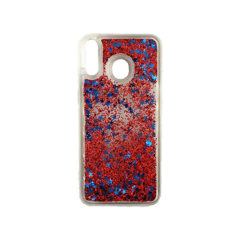 Θήκη Samsung Galaxy M20 Liquid Glitter κόκκινο 1