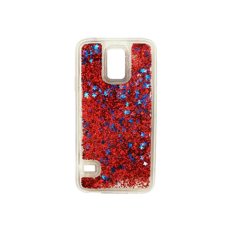 Θήκη Samsung Galaxy S5 Liquid Glitter κόκκινο 1
