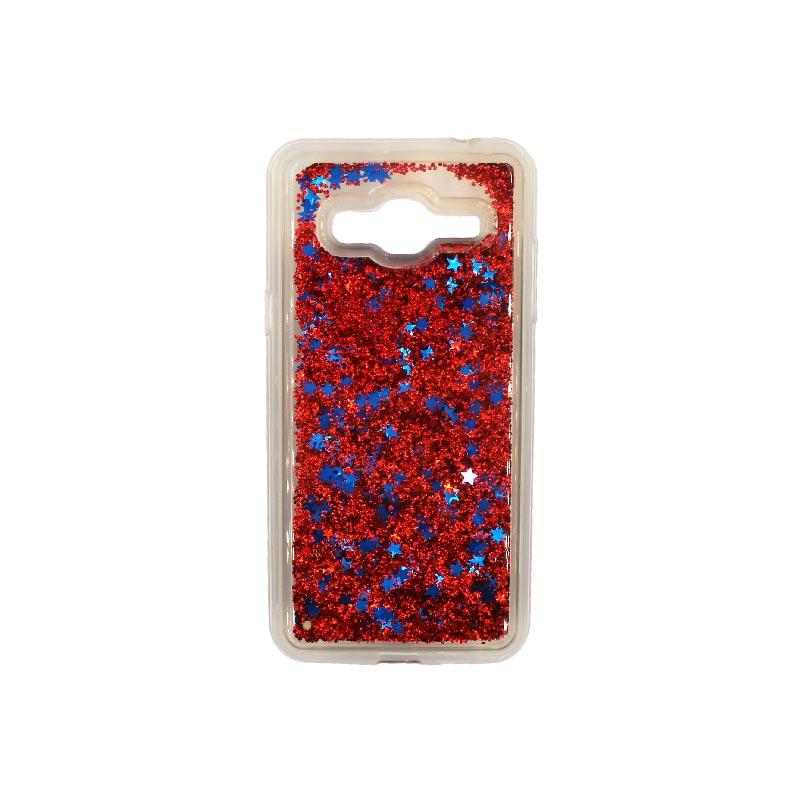 Θήκη Samsung Galaxy J3 2016 Liquid Glitter κόκκινο 1