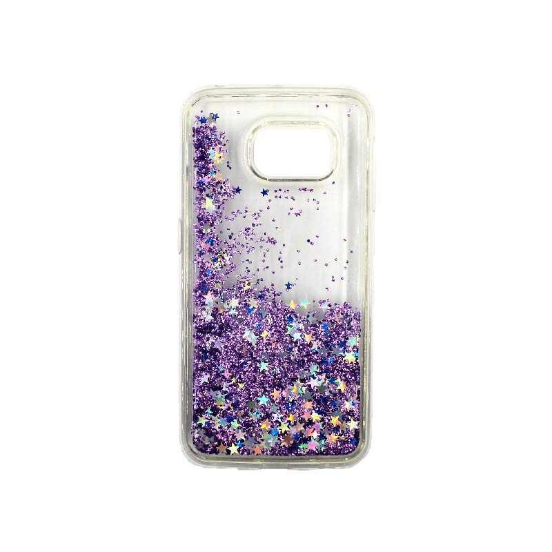 Θήκη Samsung Galaxy S6 Edge Liquid Glitter μωβ 2