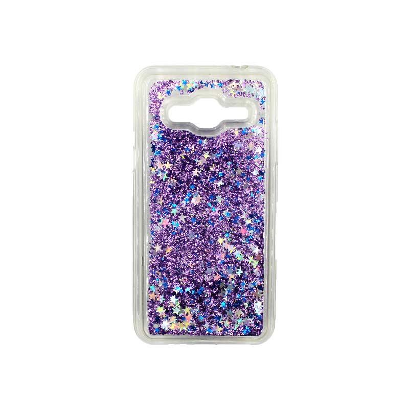 Θήκη Samsung Galaxy J3 2016 Liquid Glitter μωβ 1