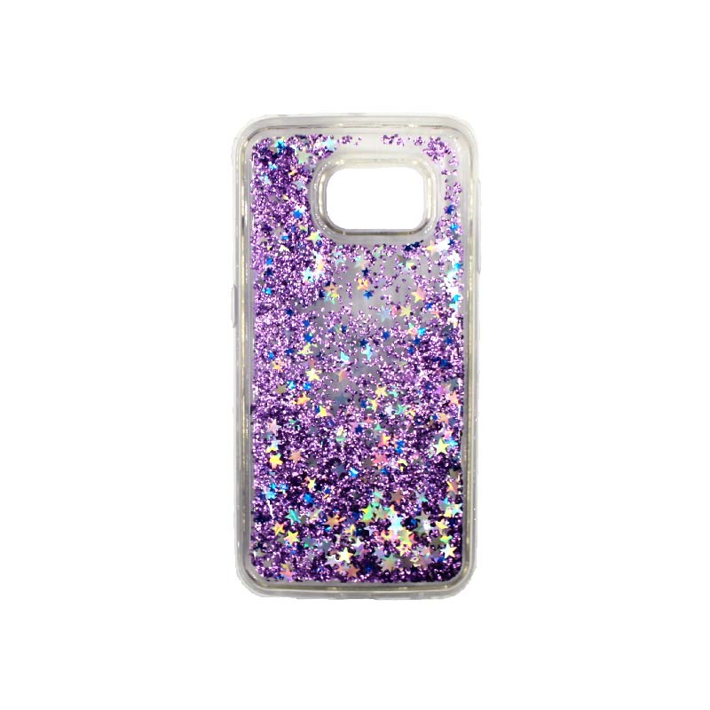 Θήκη Samsung Galaxy S6 Edge Liquid Glitter μωβ 1
