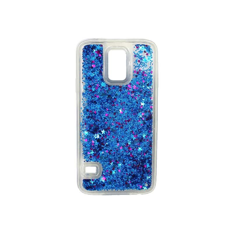 Θήκη Samsung Galaxy S5 Liquid Glitter μπλε 1