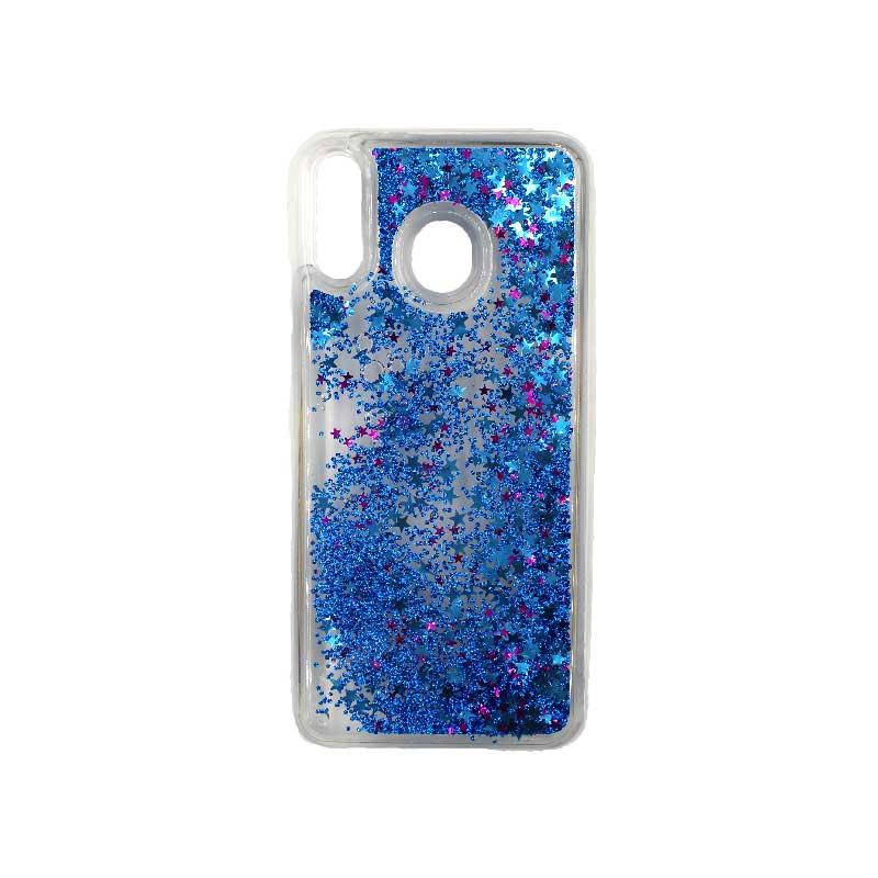 Θήκη Samsung Galaxy M20 Liquid Glitter μπλε 1