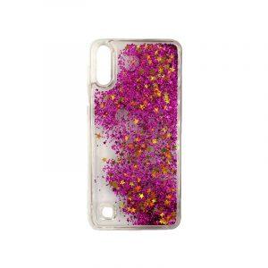 Samsung Galaxy A10 / M10 Liquid Glitter μωβ με χρυσά αστεράκια 1