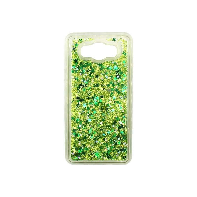 Θήκη Samsung Galaxy J7 2016 Liquid Glitter πράσινο 1