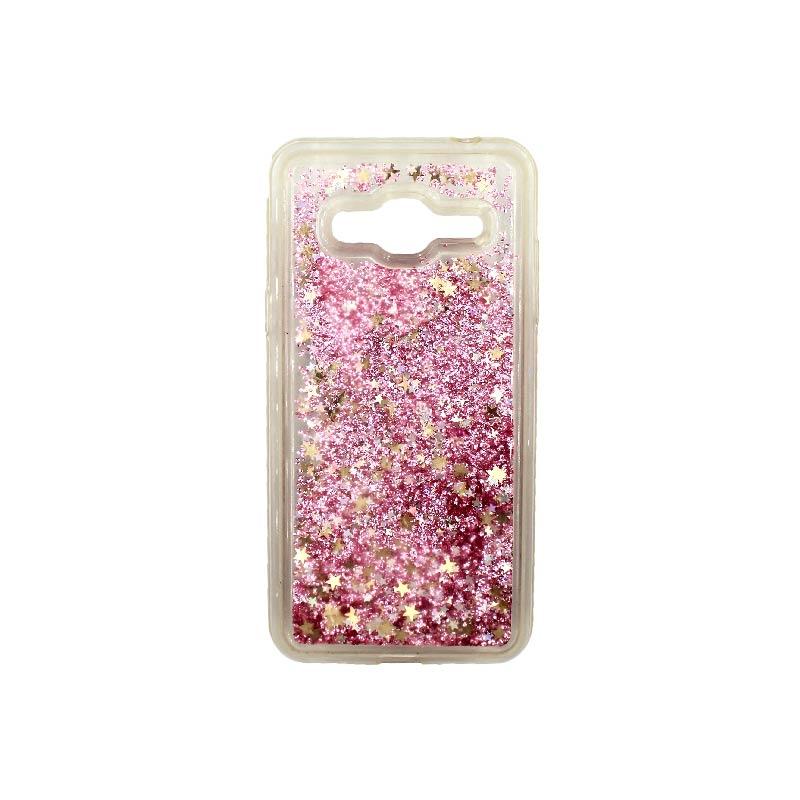 Θήκη Samsung Galaxy J3 2016 Liquid Glitter ροζ χρυσό 1