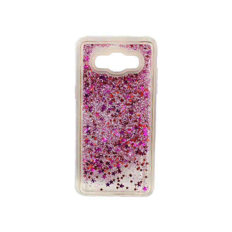 Θήκη Samsung Galaxy J7 2016 Liquid Glitter ροζ 1