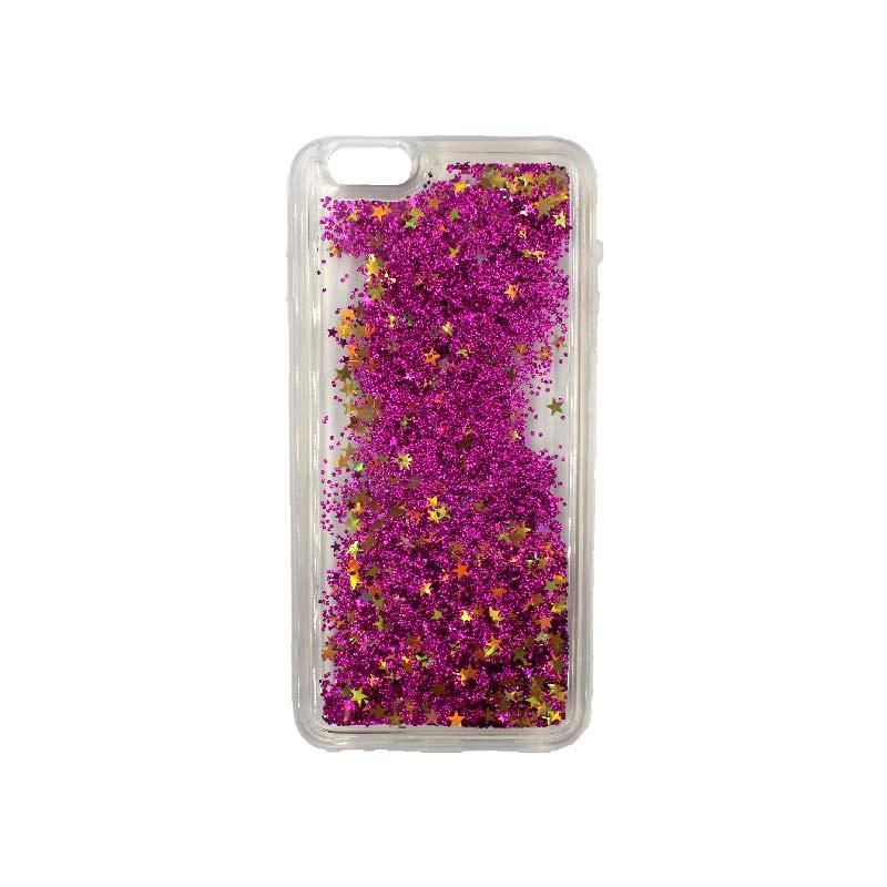 θήκη iphone 6 / 6s Plus σιλικόνη glitter και αστεράκια φούξια 1